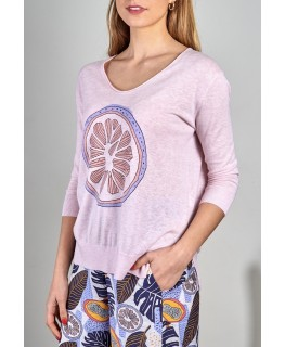 Zacket and Plover Women's Citrus Print Sweater (S2020). Blossom